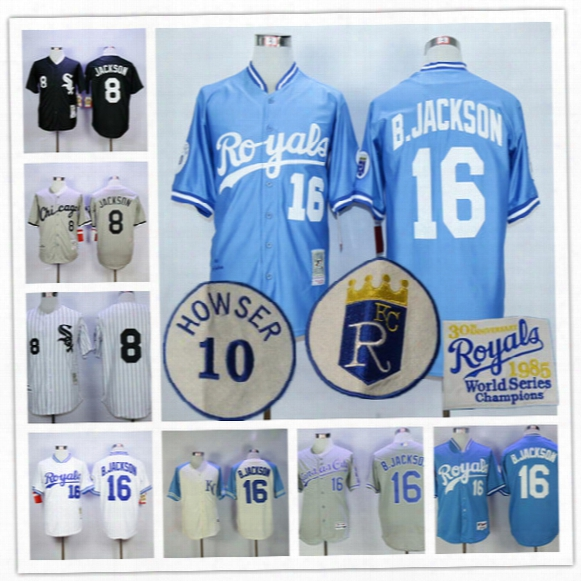 Mens Throwback Chicago White Sox #8 Bo Jackson Kansas City Royals #16 B.jackson 1993 1985 1987 Black Blue Vintage College Stitched Jerseys