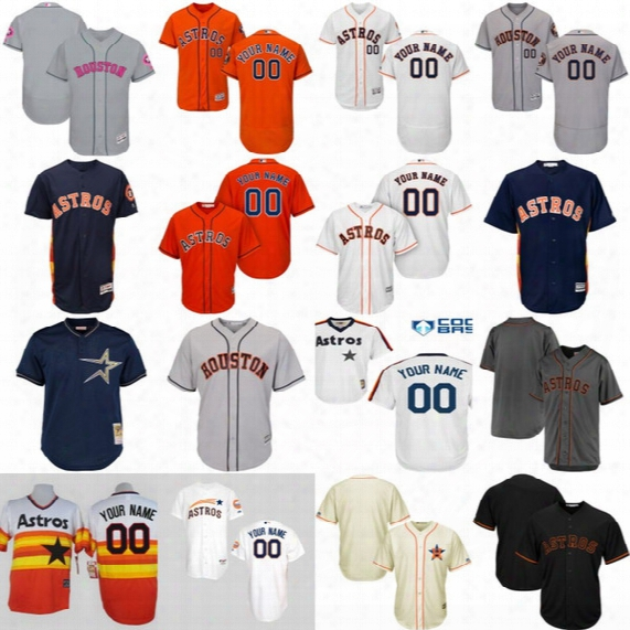 Mens Womens Youth Houston Astros Personalized Authentic Collection Customized Stitched Embroidery Logos Baseball Jerseys Mix Order Wholesale