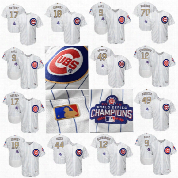Mens/women/youth Chicago Cubs Jersey 17 Kris Bryant 44 Anthony Rizzo 9 Javier Baez 18 Ben Zobrist White 2017 Gold Program Baseball Jersey