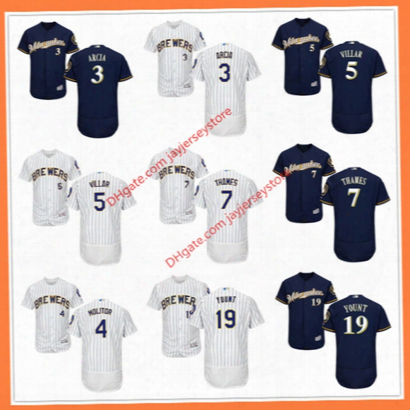 Milwaukee Brewers Jersey Flexbase Cool Base Orlando Arcia Paul Molitor Jonathan Villar Eric Thames Robin Yount Jersey Home Away Pinstripe Bl
