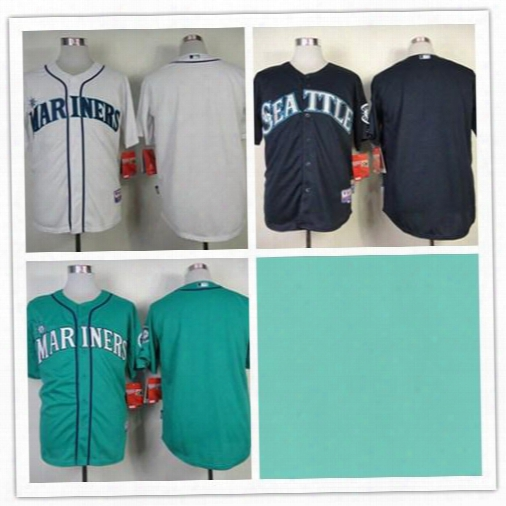 Mix Order.stitched Baseball Jerseys Seattle Mariners Blank Blue/green/white Cheap Home Road Mlb Jersey