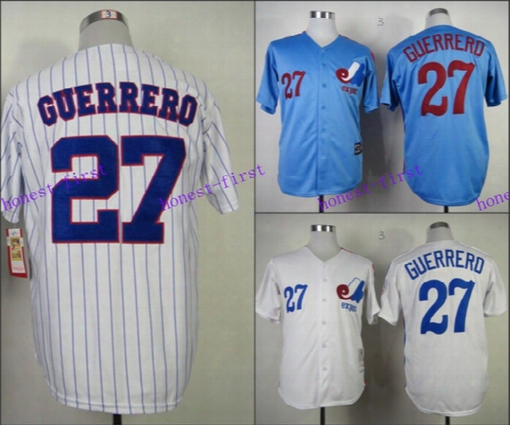 Montreal Expos Jersey 27 Vladimir Guerrero Jersey White Pinstrips Bule Cool Stitched Throwback Baseball Jersey Embroidery Logo