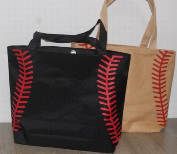 New Arrival 3 Colors Small Canvas Baseball Tote Bag Sports Casual Tote Softball Bag Football  Soccer Basketball Bag Ctton Canvas