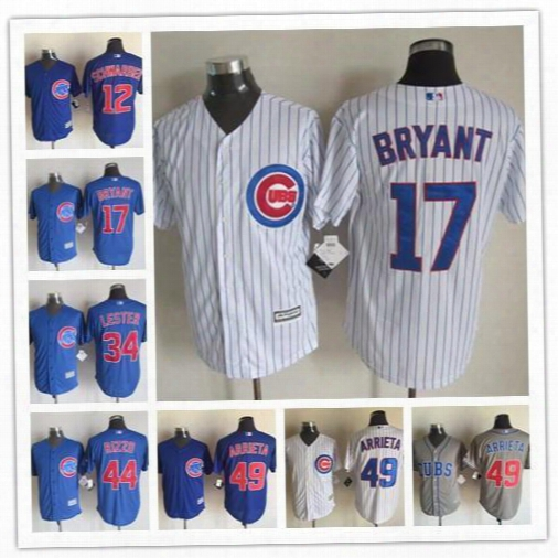 New Men's Cool Base Chicago Cubs Jersey #17 Kris Bryant #44 Anth Ony Rizzo #12 Kyle Schwarber #49 Jake Arrieta Baseball Jerseys