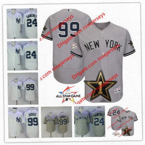New York Yankees 2017 All-star Game Wore Jersey #24 Gary Sanchez #99 Aaron Judge Gray White Stitched No Name Jerseys Size S,3xl