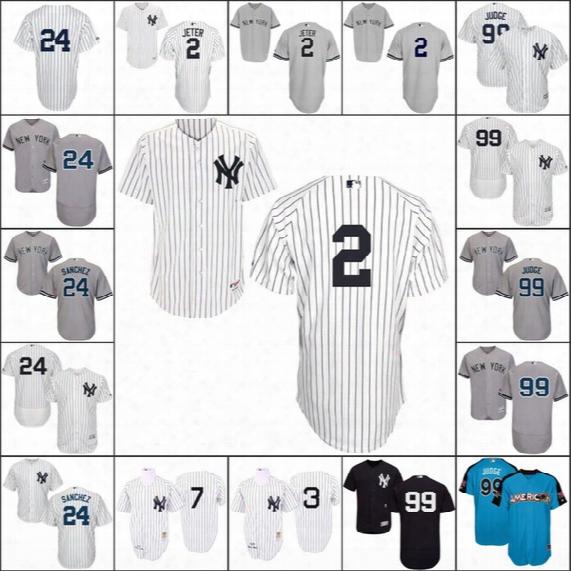 New York Yankees Jersey 2 Derek Jeter 24 Gary Sanchz 99 Aaron Judge 7 Mickey Mantle Babe Ruth 2017 All Star Baseball Jerseys