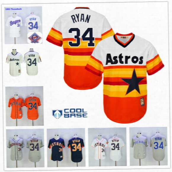Nolan Ryan Jersey Flexbase Cool Base Houston Astros Rainbow Los Angeles Angels New York Mets Texas Rangers