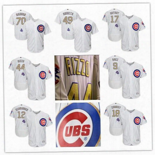 Nwt 2017 World Series Champions Chicago Cubs Gold Program 9 Javier Baez 12 Kyle Schwarber 17 Kris Bryant 44 Anthony Rizzo 18 Zobrist Jerseys