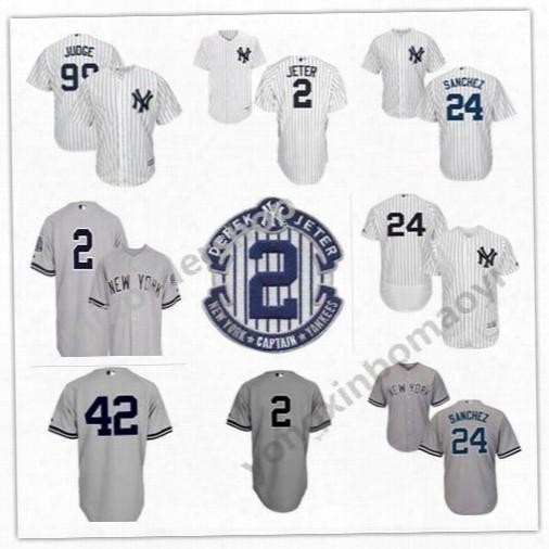 Ny/new York Yankees Jersey 2 Derek Jeter 24 Gary Sanchez 99 Aaron Judge 42 Mariano Rivera 7 Mickey Mantle Babe Ruth Baaseball Jerseys