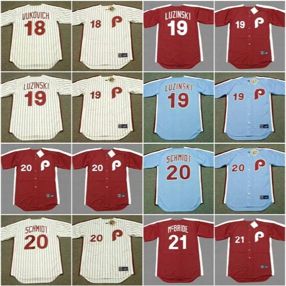 Philadelphia Phillies Men 18 John Vukovich 1980 19 Greg Luzinski 20 Mike Schmidt 21 Bake Mcbride Cooperstown Throwback Baseball Jerseys