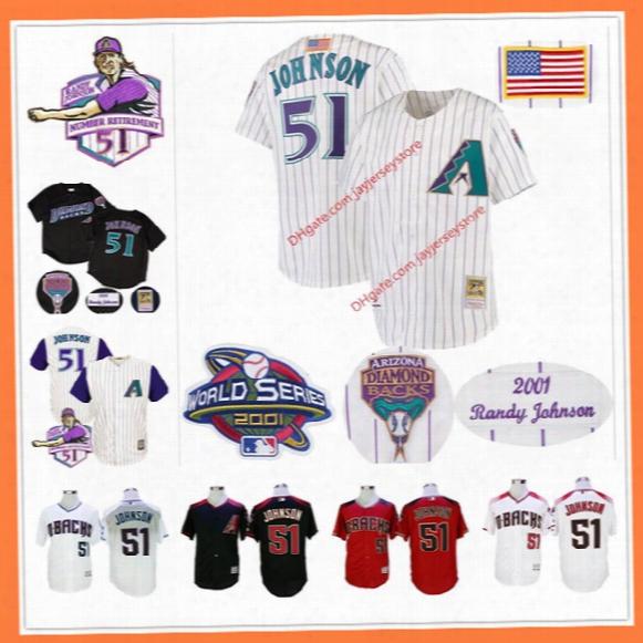 Randy Johnson Jersey With Retirement Patch 2001 World Series Arizona Diamondbacks Montreal Expos Seattle Mariners Pinstripe