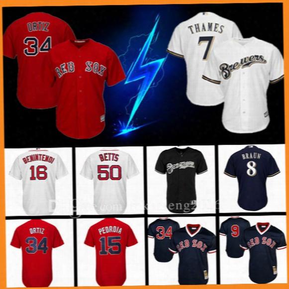 Red Sox David Ortiz Milwaukee Brewers 7 Eric Thzmes Baseball Jersey Ryan Braun 16 Andrew Beninteend Ted Williams Pedroia Betts Yount Jerseys