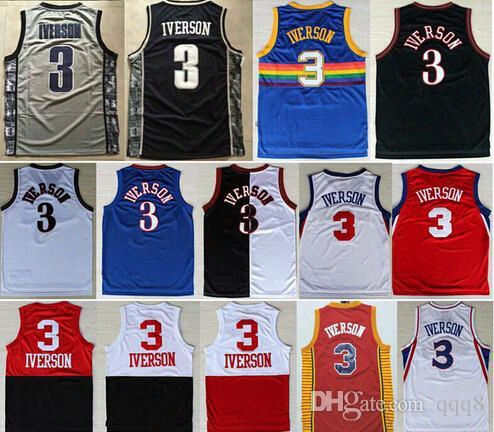 Retro Shirt #3 Allen Iverson Jerseys Georgetown Hoyas College Usa Alll Star Rev 30 Cheap Throwback Baseball Jersey 100% Stitched