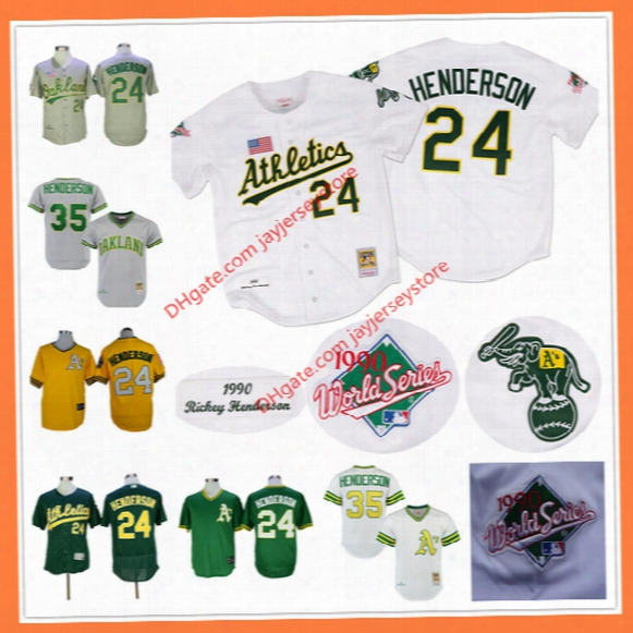 Rickey Henderson Jersey Cooperstown 24# 35# Oakland Athletic$ 1990 World Series White Yellow Green Home Away