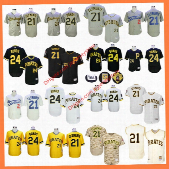 Roberto Clemente Jersey Barry Bonds Flexbase Santurce Crabbers Cooperstown Grey Pinstripe Yellow Camo Grey Pittsbu Rgh Pirates Jerseys