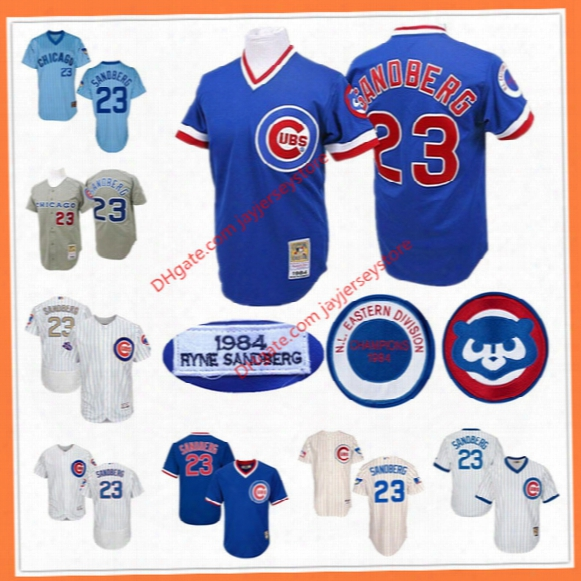 Ryne Sandberg Jersey Vintage 1984 Flexbase Cool Base Chicago Cubs Cooperstown Jerseys White Blue Grey Cream