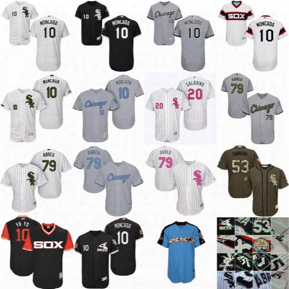 S-5xl Chicago White Sox 20 Tyler Saladino 10 Yoan Moncada Yoyo 26 Avisail Garcia Tyler Saladino Melky Cabrera Jose Abreu Todd Frazier Jersey