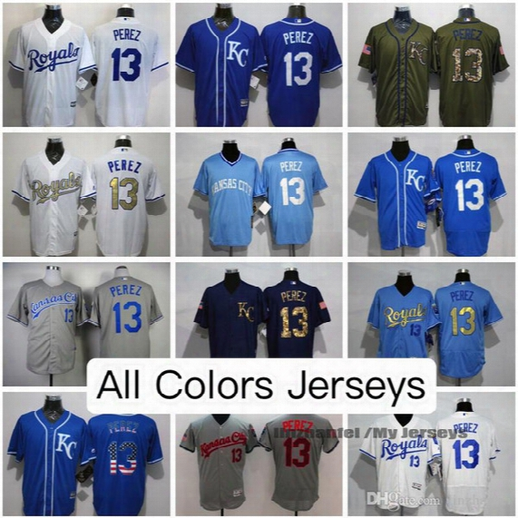 Salvador Perez Kansas City Royals Jerseys All Colors White Gray Black Light Blue Olive Cooperstown Majestic Cool/flex Base Baseball Jersey