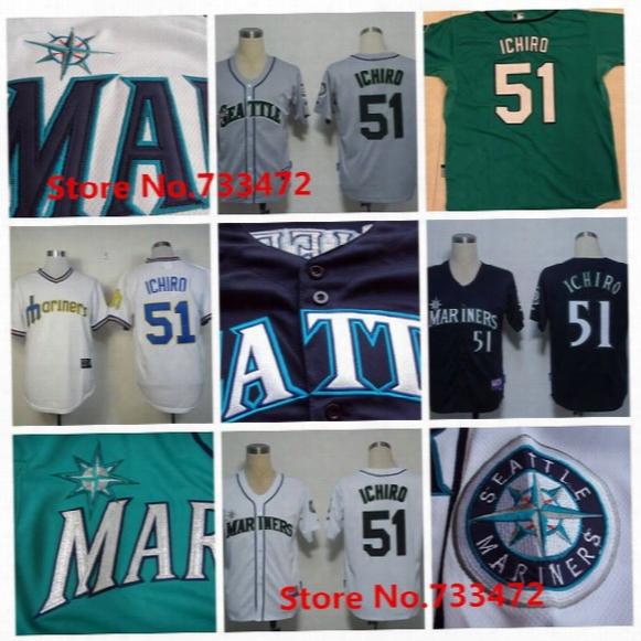 Seattle Mariners Jersey #51 Ichiro Suzuki Jersey White Throwback Jerseys Authentic Baseball Shirt Blue White Green Gray Cheap