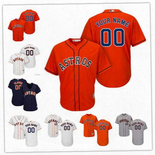 Stitched Custom Houston Astros Jerseys Men's Women's Youth Houston Astros Majestic Orange Cool Base Custom Jersey Free Shipping