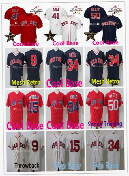 Stitched Jersey 9 Ted Williams 41 Chris Sale Jerseys Boston Red Sox 34 David Ortiz 15 Dustin Pedroia 50 Mookie Betts Basketbal Jersey