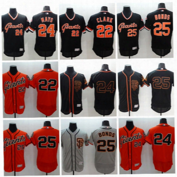 Throwback Baseball Jerseys #25 Barry Bonds #24 Willie Mays #22 Clark Men Sf Giants All Stitched Embroidery Flexbase Jersey