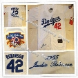LA Dodgers 42 Jackie Robinson Jersey 1955 Throwback Los Angeles Dodgers White W/50th hall of fame Patch,All Stitched Free Shipping
