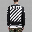 OFF-WHITE Black Varsity Jacket For Men Classic Striped Logo Print Baseball Jersey Jackets Winter Embroidery Cardigan Hood Coat CYG0417
