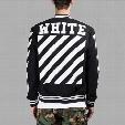 OFF-WHITE Black Varsity Jacket For Men Classic Striped Logo Print Baseball Jersey Jackets Winter Embroidery Cardigan Hood Coat CYG0417