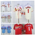 Vintage 1 Ozzie Smith Jersey St. Louis Cardinals Baseball Jerseys Cooperstown Flexbase Cool Base Pullover White Grey Blue Red Button Cream