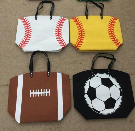 Tote Bag Women Handbag Softball Baseball Stitching Bags Baseball Women Cotton Canvas Sports Shoulder Bags Lady Baseball Softball 15 Styles