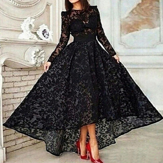 Vestido 2015 Black Extended A Line Elegant Prom Evening Dress Crew Neck Long Sleeve Lace Hi Lo Party Gown Special Occasion Dresses Evening Gown