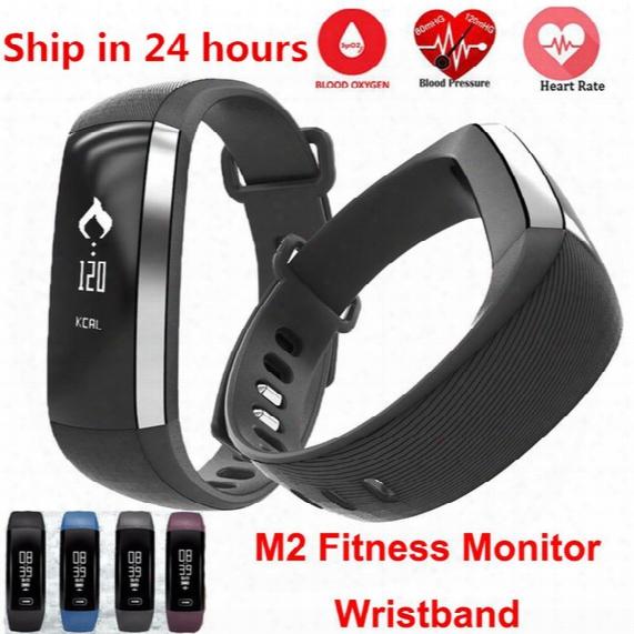 Waterproof M2 Band Blood Pressure Blood Oxygen Monitor Bracelet Bluetooth 4.0 Wristband Pedometer Fitness Activity Tracker Smart Bracelet