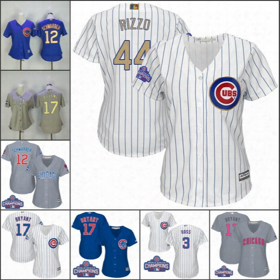 Women's Chicago Cubs Jersey 17 Kris Bryant 44 Anthony Rizzo 9 Javier Baez 12 Kyle Schwarber World Series Champions Gold Baseball Jerseys