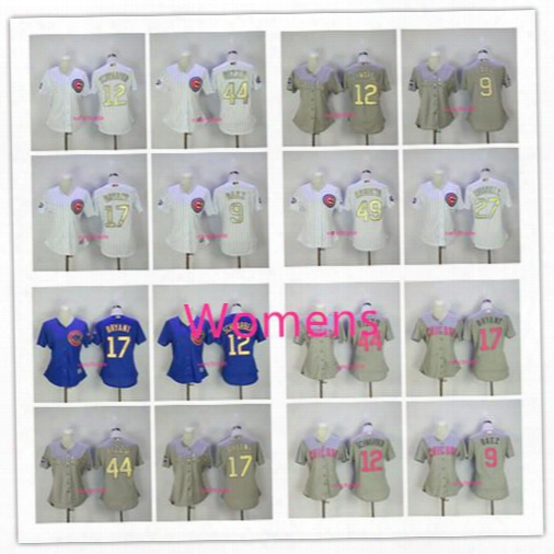 Womens 2017 Gold Program Chicago Cubs 17 Kris Bryant 44 Anthony Rizzo 9 Javier Baez 12 Kyle Schwarber World Series Champions Baseball Jersey