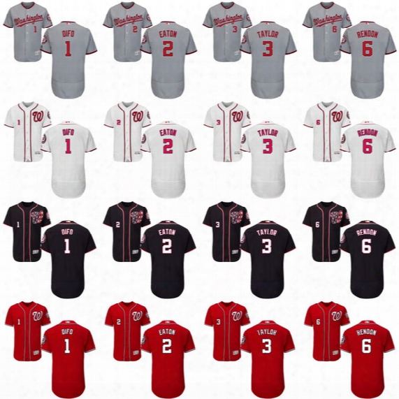 1 Wilmer Difo 2 Adam Eaton 3 Michael Taylor 6 Anthony Rendon Jersey Washington Nationals Jerseys Flexbase Cool Base Size S 4xl 5xl