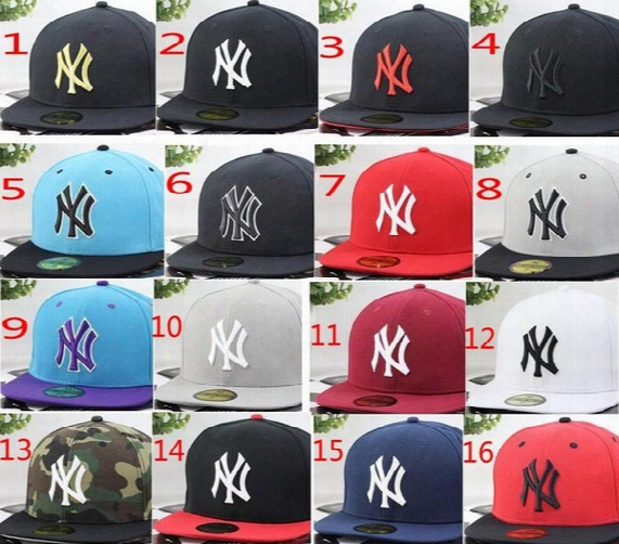 16 Colors 5 Sizes Non Adjustable Yankees Hip Hop Mlb Baseball Caps Ny Hats Mlb Unisex Sports
