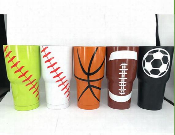 1pcs Baseball Softball Basketball American Football 30oz Tumbler Cup Vacuum Insulated Beer Mug Stainless Steel Mug Free Ship