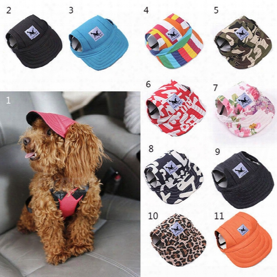 1pcs Pet Dog Canvas Hat Sports Baseball Cap With Ear Holes Summer Outdoor Hiking For Small Dogs Size S M Pet Supplies
