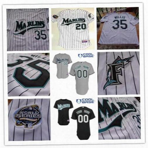 2003 World Series Florida Marlins Baseball Jerseys 20 Miguel Cabrera 35 Dontrelle Willis 61 Miguel Cabrera 7 Ivan Rodriguez Burnett Ramirez