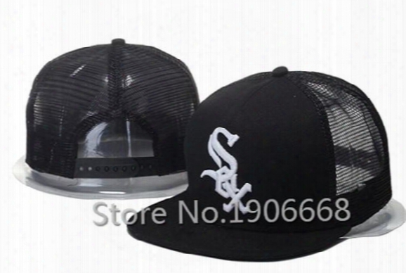 2015 Men's Black Color White Letter Sox Sport Team Ncaa Baseball Snapback Caps Chicago White Sox Mesh Trucker Hats