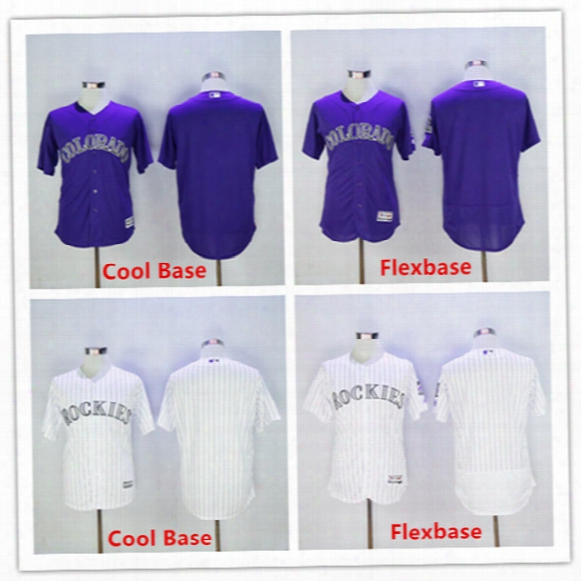 2016 Flexbase/cool Base Men's Blank Jersey No Name No Numbers Purple/white/grey Colorado Rockies Baseball Jerseys Drop Shipping