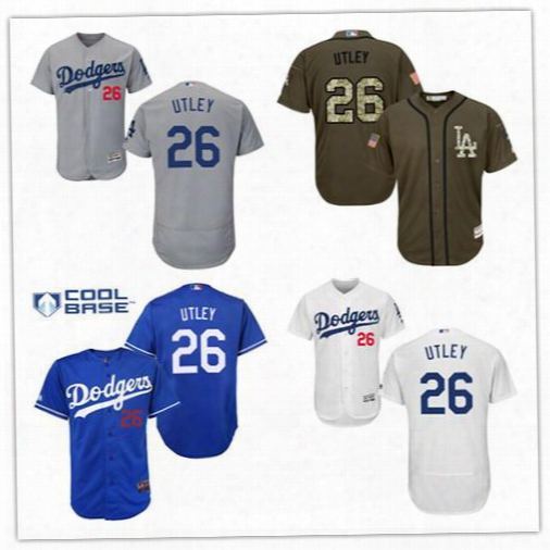 2016 Mens Los Angeles Dodgers 26 Chase Utley Authentic Jersey Blue White Grey Authentic Baseball Jersey Throwback Stitched Flexbase