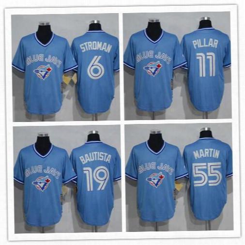 2016 Mens Retro Toronto Blue Jays Jose Bautista #6 Marcus Stroman #11 Kevin Pillar #55 Russell Martin Baby Blue Throwback Baseball Jerseys
