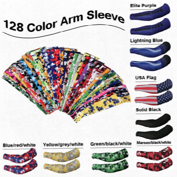 2016 New Compression Sports Arm Sleeve Camo Baseball Football Basketball Neon 128 Color