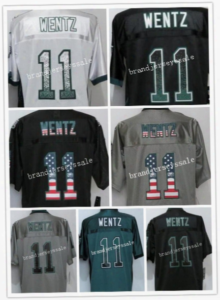2016 New Eagles Elite Mens #11 Carson Wentz Jersey Elite Jerseys Green Usa Flag Fashion Gray Black Stitched Free Drop Shipping