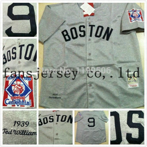 2016 New Free Ship. Cheap Men's 2014 Top Quality Red Sox 9 Ted Williams Throwback /retro Baseball Jersey/shirt