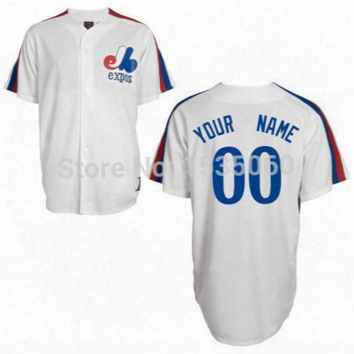 2016 New Personalized Montreal Expos Jersey Custom Stitched Authentic Baseball Jerseys Cheap Customized White Grey Men Blue Size M-xxxl