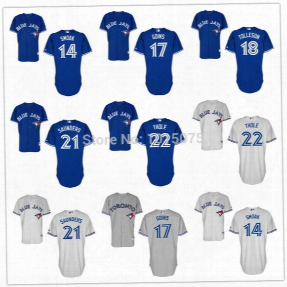 2016 New Toronto Blue Jays Jersey Josh Thole, Justin Smoak, Michael Saunders, Ryan Goins, Steve Tolleson Blue White Grey