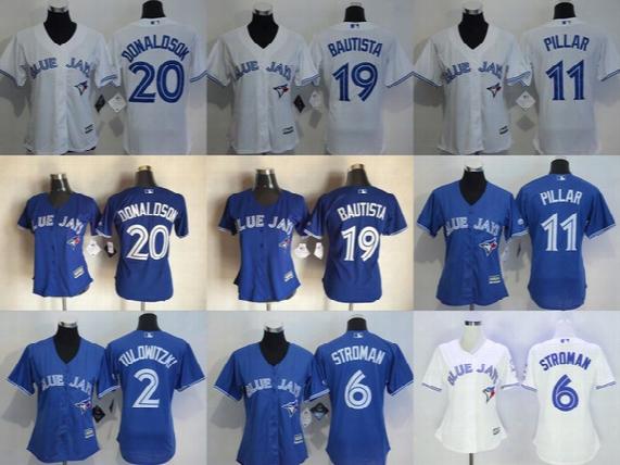 2016 New Womens Toronto Blue Jays 20 Josh Donaldson 19 Jose Bautista 11 Kevin Pillar 2 Troy Tulowitzki Baseball Jerseys Fr Ee Drop Shipping